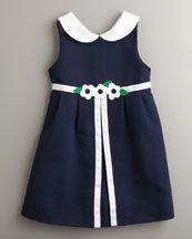 Bird\'s Eye Pique Dress by Florence Eiseman at Bergdorf Goodman. Girls Blue Dress, Little Dresses, Little Girl Dresses, Girls Dresses, Frocks For Girls, Kids Frocks, Toddler Dress, Baby Dress, Little Girl Fashion