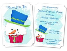 Send an invitation to your Christmas or winter party with this cute invitation featuring a snowman cupcake.  Fully customizable for your event.  Original art is by Phyllis Dobbs.  #christmasinvitation #snowmaninvitation #snowmancupcake #cupcakeart