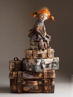 On Suitcases by Nadya Sokolova Paper Mache Animals, Marionette, Textile Sculpture, Opus, Polymer Clay Dolls, Paperclay, Art For Art Sake, Doll Maker, Fairy Art