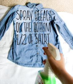 DIY: Bleached Denim – Crafted in Carhartt Bleach Spray Shirt, Bleach T Shirts, Gebleichte Shirts, Tie Dye Shirts, Flannel Shirts, Flannels, Diy Jeans, Women's Jeans, Carhartt