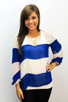 MACA Clothe · Striped Royal Blue Top