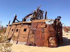 "Noah Purifoy spent the final years of his life in Joshua Tree creating the monumental ""Outdoor Desert Art Museum of Assemblage Sculpture"" made from tons of discarded materials."