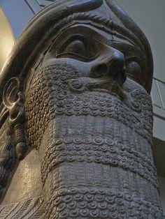 Assyrian Protective winged human headed lion spirit Nimrud 860 BCE 3 by mharrsch, via Flickr
