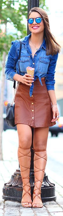 Camila Coelho Gladiators Denim Button Up Camel Leather Button Skirt Outfit Idea
