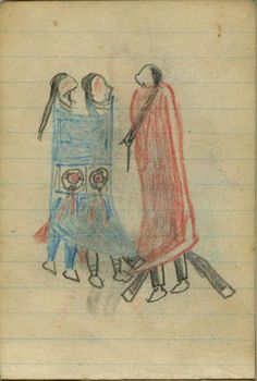 Plains Indian Ledger Art: Wild Hog Ledger-Schøyen - COURTING: A Man in a Red Blanket Courts Two Women in a Blue Blanket