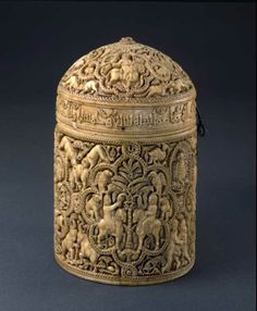 Pyxis of al-Mughira, c. 968 AD, carved ivory, Musée de Louvre, Paris, France