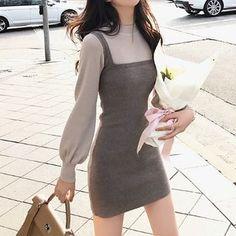 animal crossing QR codes Buy Shinobu Mock Two Piece Long-Sleeve Knit Dress Korean Girl Fashion, Korean Fashion Trends, Korean Street Fashion, Ulzzang Fashion, Fashion Mode, Asian Fashion, Korean Fashion Summer, Korea Fashion, Fall Fashion Trends