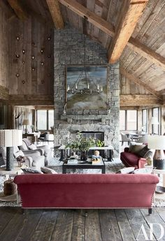Marsala has officially become the 2015 color of the year! If you don't know what this color is, just remember Italian Marsala wine, it's deep red. Architectural Digest, Living Room Designs, Living Room Decor, Living Area, Bedroom Decor, Timber Ceiling, Ceiling Beams, Ivy House, Mountain Homes