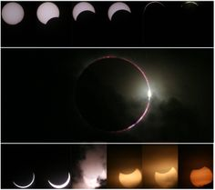 Hybrid solar eclipse 2013-11-03. A montage of images of the total eclipse seen from Gulu, Uganda. (Credit: Balraj Chauhan)