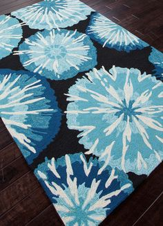 Barcelona Blues Indoor-Outdoor Area Rug - love these bright pops of color!