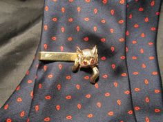 RedEyed Playful Kitten Gold Tone Tie Clip by DresdenCreations, $10.00