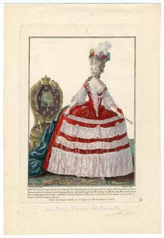 Women's Childrens 18th century, Plate 006. Fashion plates, 1700-1955. The Costume Institute Fashion Plates. The Metropolitan Museum of Art, New York. Gift of Woodman Thompson (b17520939) | This fashion plate depicts Marie Antoinette. #fashion