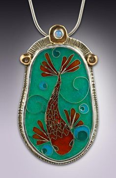 Interested in custom enamel jewelry or unique jewelry designs? Best cloisonne jewelry shop online with jewelry pieces made by Julie Glassman Metal Clay Jewelry, Enamel Jewelry, Pendant Jewelry, Jewelry Art, Jewelry Design, Jewellery, Pendant Necklace, Modern Jewelry, Unique Jewelry