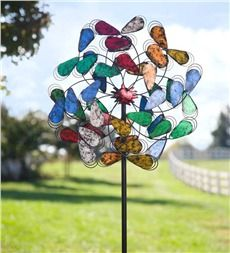 Oversized Colorful Leaves Metal Wind Spinner