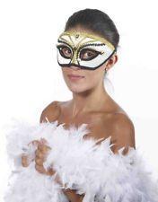 Deluxe Halloween Unisex White Gold Black Venetian Carnival Glasses Mask
