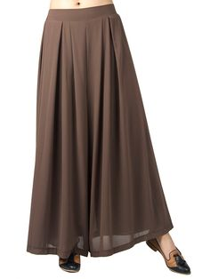Saddle Brown Pleated Chiffon Wide Leg Palazzo Pants