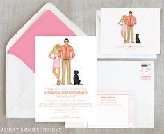 Engagement Party Invitations   ... } Pink + Orange Engagement Party Invitations - Ashley Brooke Designs