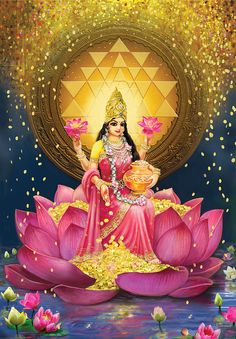 Gold Lakshmi Painting by Lila ShravaniYou can find Hindu art and more on our website.Gold Lakshmi Painting by Lila Shravani Indian Goddess, Goddess Art, Goddess Lakshmi, Diwali Goddess, Indiana, Lakshmi Images, Lakshmi Photos, Lord Vishnu Wallpapers, Religion