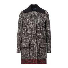LANVIN PARIS Tweed Coat ($2,207) ❤ liked on Polyvore featuring outerwear, coats, black, tweed coat, lanvin coat, lanvin, black coat and long sleeve coat