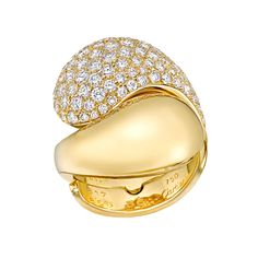 Estate Cartier ~ 18k Gold & Pavé Diamond Bypass Ring in polished gold with diamond pavé