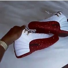 Jordan 12 Ghetto Dorothy Mens via Waan Outwest. Cute Sneakers, Sneakers Mode, Sneakers Fashion, High Top Sneakers, Shoes Sneakers, Women's Shoes, Jordan Shoes Girls, Girls Shoes, Michael Jordan Shoes