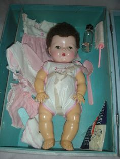 Vintage Tiny Tears American Character Doll with Layette Dolls 1950's Caracul Wig