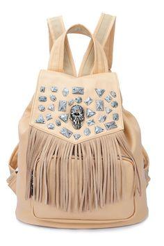 Rhinestone Studded Nude Tassel Backpack
