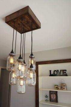 Mason Jar Chandelier with Edison Style Bulbs by MatterofFractions