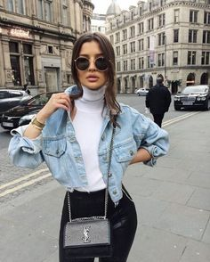 Outfit Jeans, Jean Jacket Outfits, Cropped Denim Jacket Outfit, Outfits With Jeans, Winter Fashion Outfits, Look Fashion, Fall Outfits, Summer Outfits, Fashion Wear