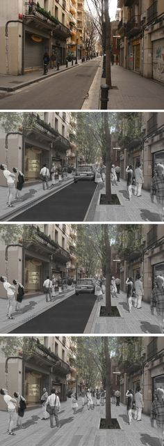 "Current state and photomontages of the different action proposals for ""Carrer Gran de Sant Andreu"", Barcelona"