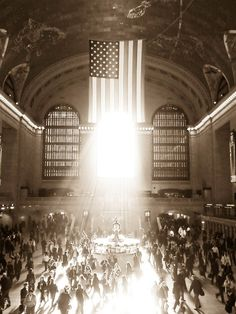 Grand Central Station, American flag, New York City