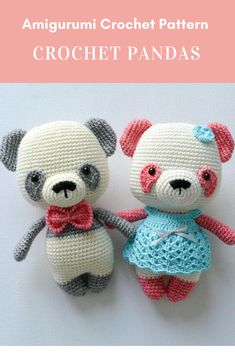 Crochet Pandas Pattern  Affiliate Link #crochet #crochetpattern #amigurumicrochetpattern #crochetpandapattern #pandaamigurumi