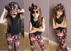 [~$9]  Baby clothes sale!  3 pcs Toddler Girls Clothes Tops T-shirt Floral Pants Headband Kids Summer Outfits Children Clothing Suit