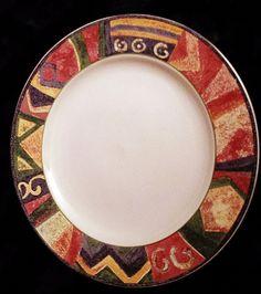 Furio Dinner Plates in Contemporary Southwestern Mesa Pattern Lot of 3 #Furio  sc 1 st  Pinterest & Sakura Salad Plates in Genuine Stoneware Laredo Southwestern Pattern ...