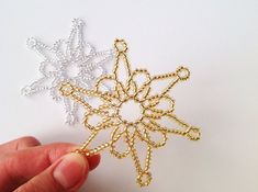 Beautiful beaded snowflakes are made from high quality shining seed beads and colored copper wire. The listing is for three beaded snowflakes. Hope you will love these Christmas decorations as much as I do! Smaller beaded snowflakes are here: Snowflake Decorations, Handmade Christmas Decorations, Handmade Christmas Gifts, Snowflake Ornaments, Christmas Snowflakes, Beaded Ornaments, Christmas Tree Earrings, Crochet Christmas Ornaments, Crochet Decoration