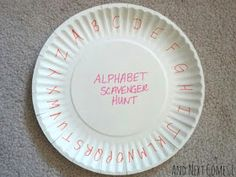 Paper plate scoreboard for alphabet walk scavenger hunt... Turn down the tab when you've found the letter!