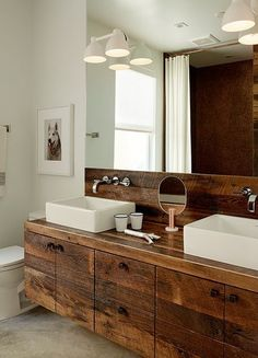 Elegant Rustic Bathroom Vanities : Modern Bathroom With Rustic Wooden Vanity Featured Vessel Sinks Rustic Bathroom Designs, Rustic Bathroom Vanities, Rustic Bathroom Decor, Rustic Bathrooms, Wood Bathroom, Bathroom Renos, Small Bathroom, Master Bathroom, Bathroom Storage
