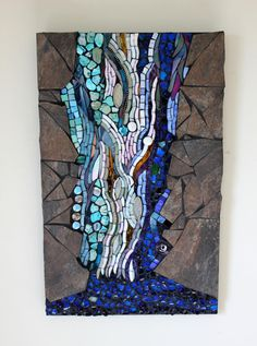 Stained Glass Mosaic Water Waterfall by GlassArtsStudio on Etsy, $500.00