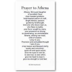 This is a prayer to Athena (Minerva) and relates to Arachne because if she had thanked the gods for her weaving ability then she never would've been in the weaving competition or turned into a spider. Minerva Goddess, Athena Goddess Of Wisdom, Goddess Quotes, Moon Goddess, Greek Mythology Gods, Goddess Symbols, Greek Gods And Goddesses, Roman Mythology, Athena Symbol