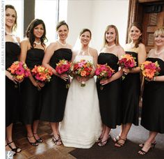 Black Bridesmaid Dress with flowers the colors of your wedding