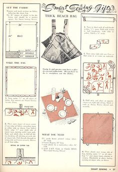Trick Beach Bag Pattern    from Smart Sewing Magazine, 2nd edition, 1950