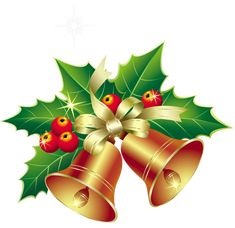 Christmas Bells with Mistletoe Ornament PNG Clipart