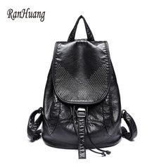 High-grade Leather Backpacks Washed Leather Bag Shoulder School Bags For Girls Female Casual Travel Bags Mochila Leather Backpacks For Girls, Girl Backpacks, Casual Backpacks, Backpack Brands, Backpack 2017, Ladies Backpack, Girls Bags, Ladies Bags, Black Backpack