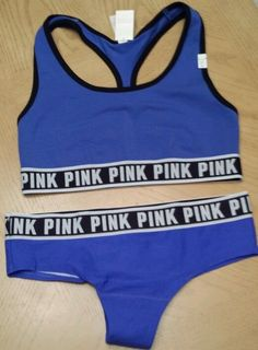 Victorias Secret Fashion Show PINK Logo Sports Bra & Panty Set Size M Blue in Clothing, Shoes & Accessories | eBay