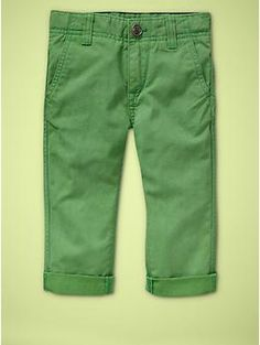 Obsessed with bright colors for J's spring wardrobe.  Love these cute green pants from Baby Gap.