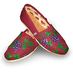 "Custom Painted ""Vineyard"" Toms Shoes with Vines and Grapes. $100.00, via Etsy."