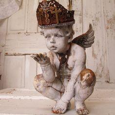 Distressed cherub statue handmade crown shabby by AnitaSperoDesign