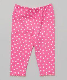 Love this Pink Polka Dot Capri Leggings - Toddler & Girls on #zulily! #zulilyfinds