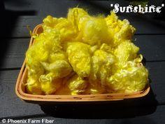 Hand Dyed Mixed Locks in Sunshine Yellow by PhoenixFarmFiber