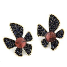 Black Flower Stud Earrings via LAU ACCESSOIRES. Click on the image to see more!